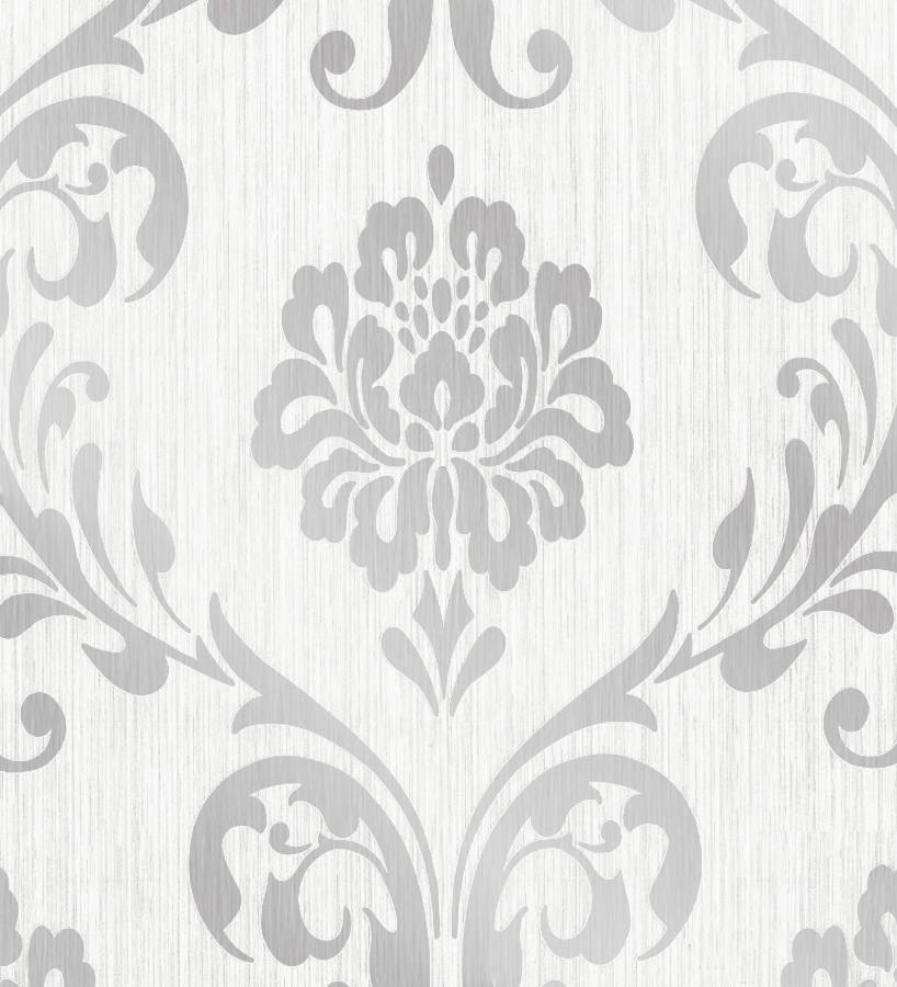 Papel pintado damasco moderno metalizado fondo blanco 40652 for Papel pintado gris y blanco