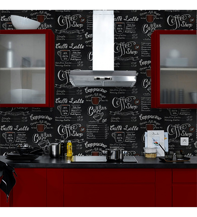 Papel pintado para cocinas imitaci n pizarra y letras con for Placas decoradas para pared