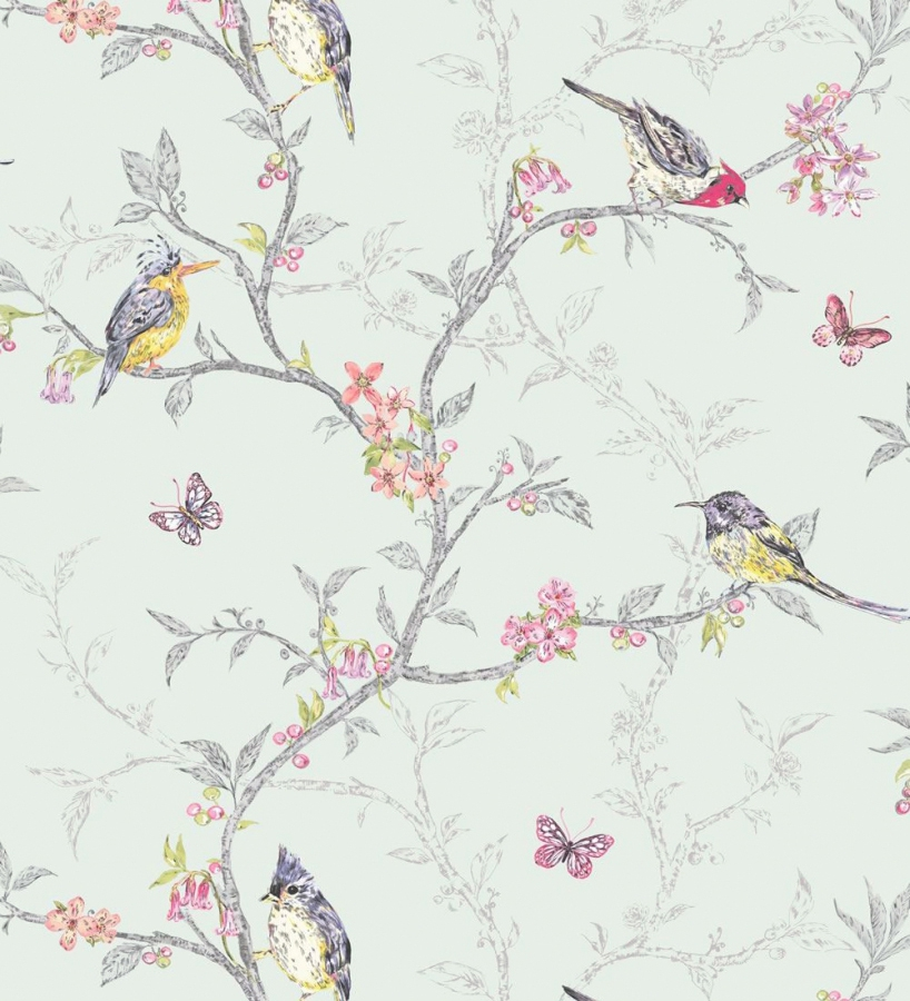 Wallpaper Designs With Birds : Papel pintado rom?ntico con p?jaros y ramas fondo verde