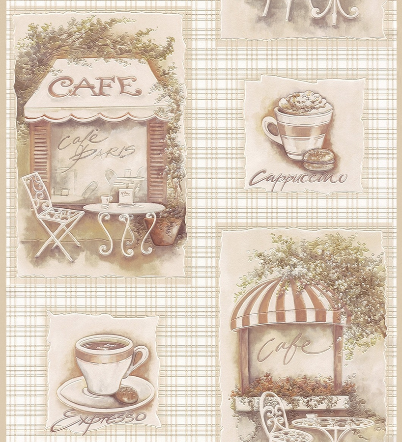 Papel pintado collage con cafeter as vintage nude 1006259 for Papel pintado vintage