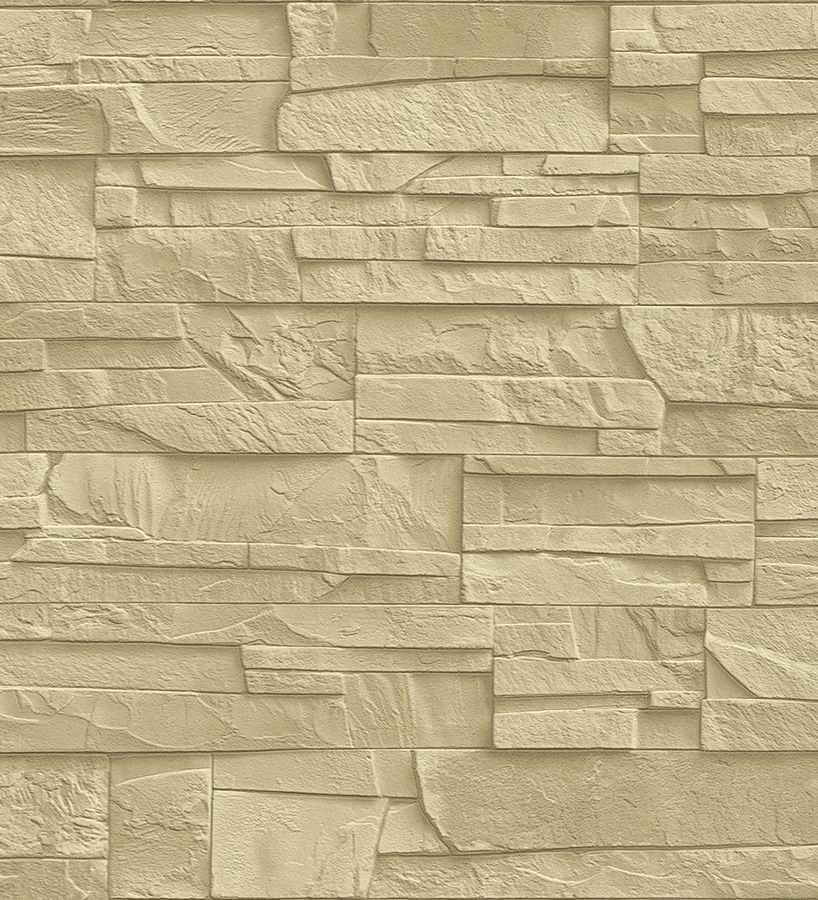 Papel pintado r stico piedra de pizarra amarillo claro for Papel pared efecto piedra