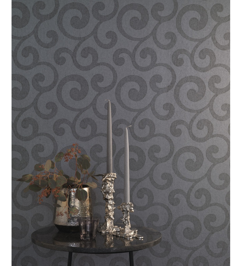 Papel pintado ornamental moderno negro 1007545 for Papel pintado negro