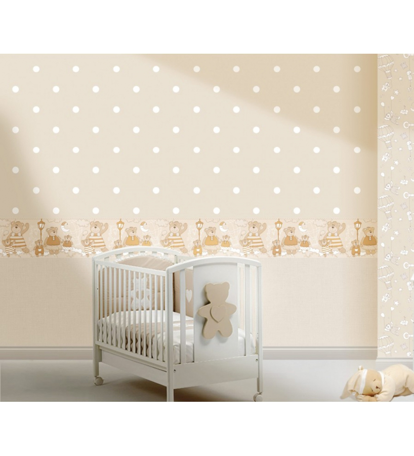 Papel pintado para dormitorios infantiles lunares blanco for Papel de pared plata