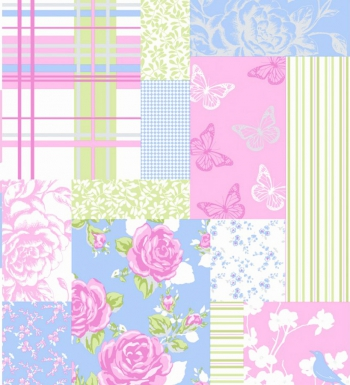 Papel pintado patchwork ingl s flores y mariposas 41023 for Papel pintado ingles